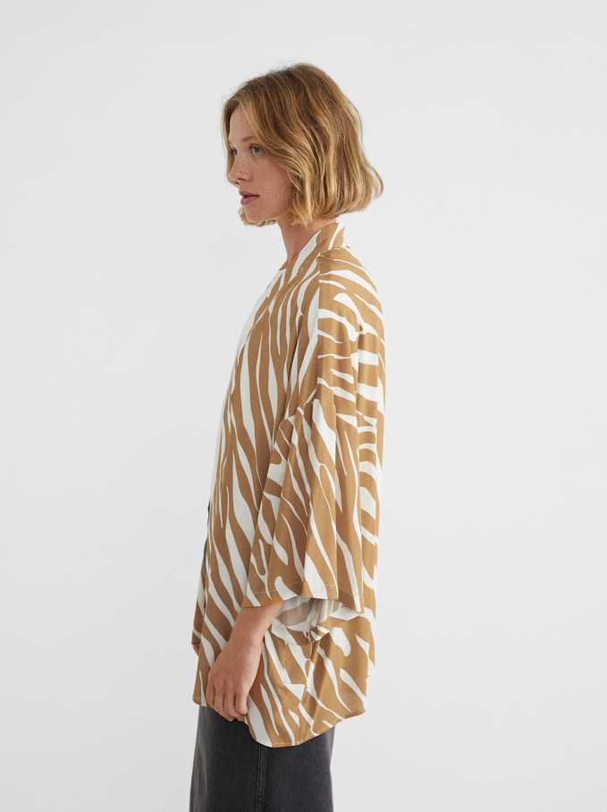 Open Kimono With Animal Print, Camel, hi-res