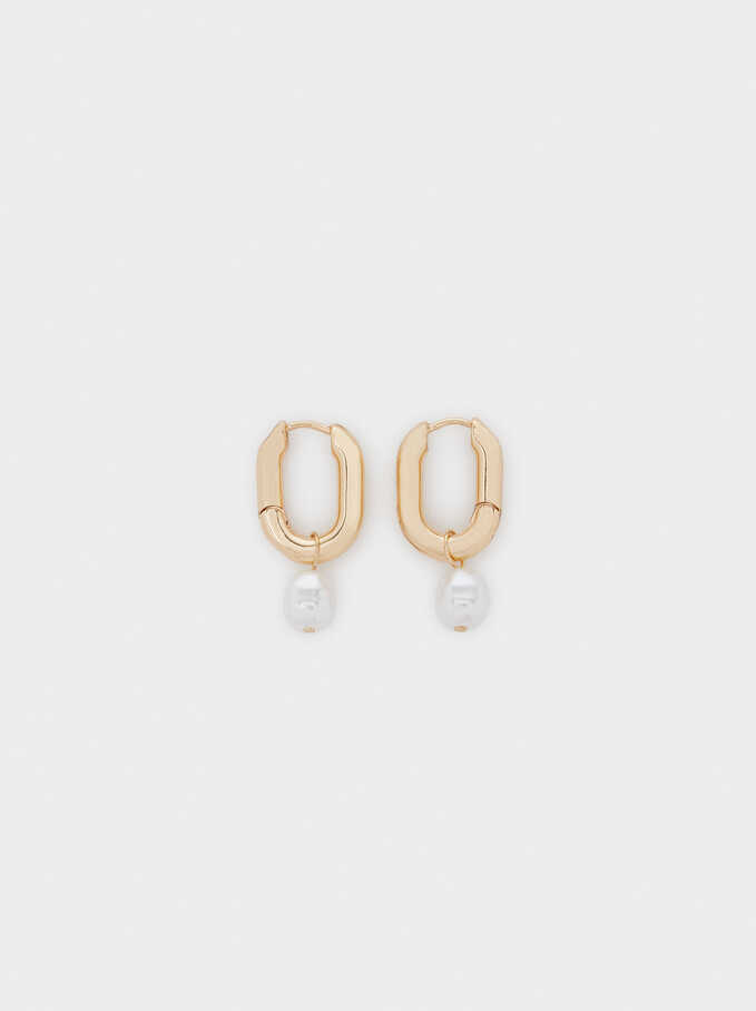 Medium Gold Hoop Earrings With Shell Detail, Golden, hi-res