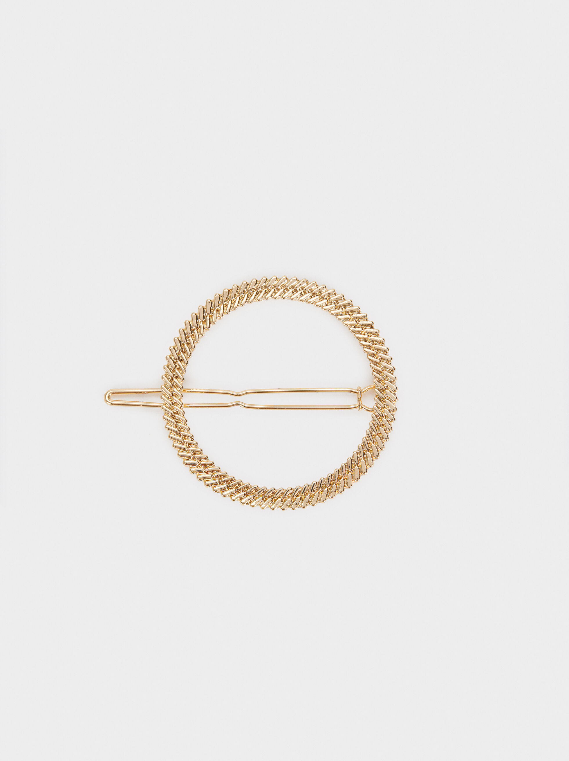 Circular Metallic Hair Slide, Golden, hi-res