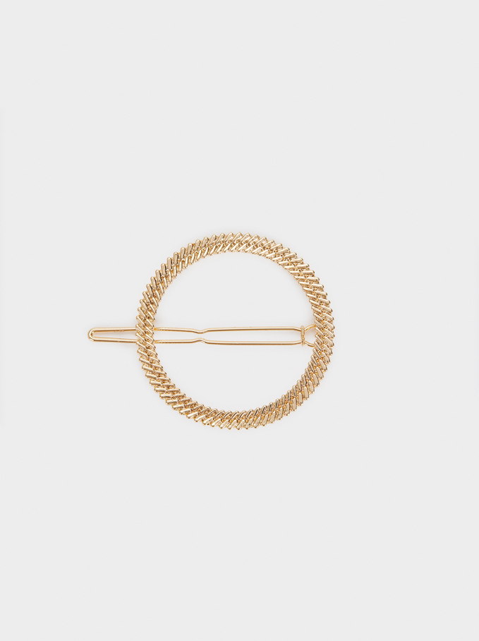 Horquilla Metálica Circular, Dorado, hi-res