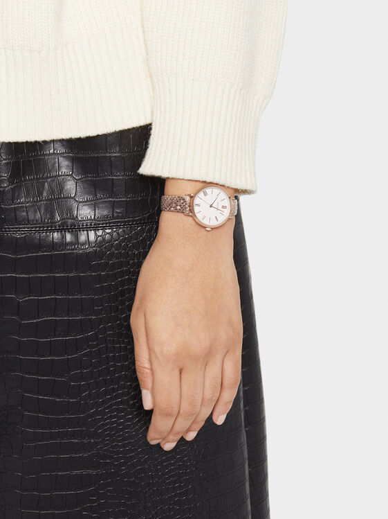 Watch With Snakeskin Embossed Wristband, , hi-res