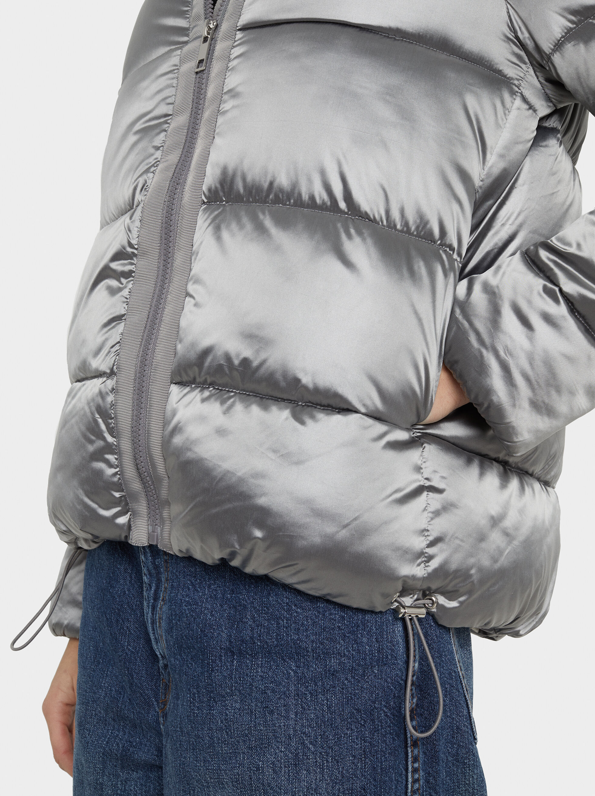 Metallic Puffer Jacket, Silver, hi-res