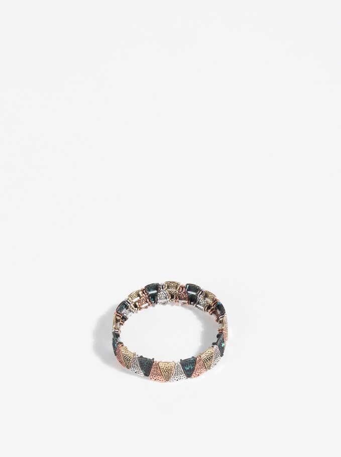 Three-Tone Elastic Bracelet, Multicolor, hi-res