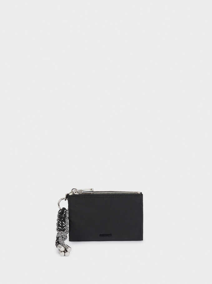 Nylon Wallet With Cord Detail, Black, hi-res