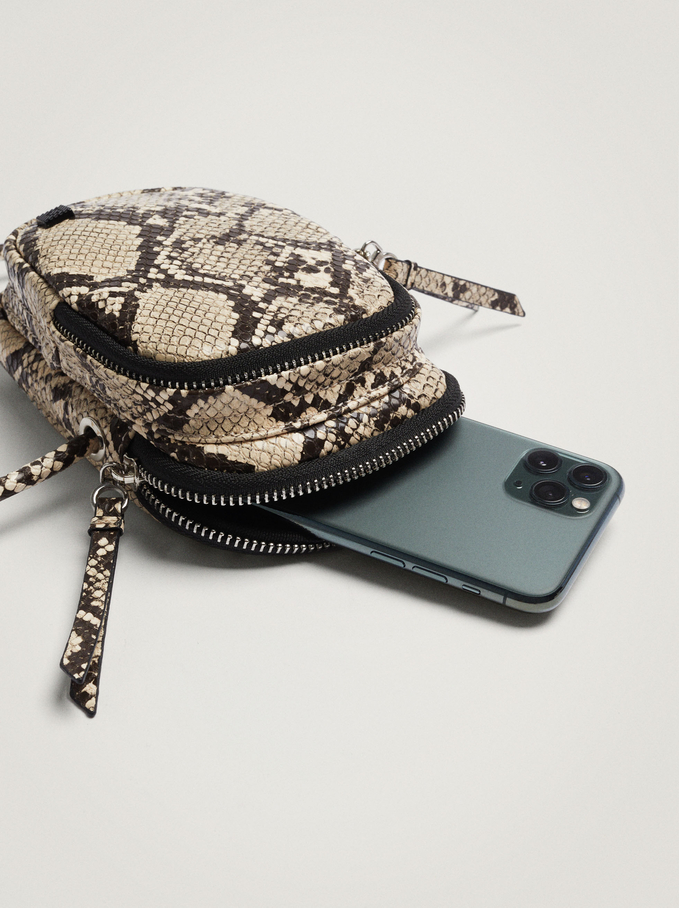 Embossed Animal Print Mobile Phone Case, Beige, hi-res