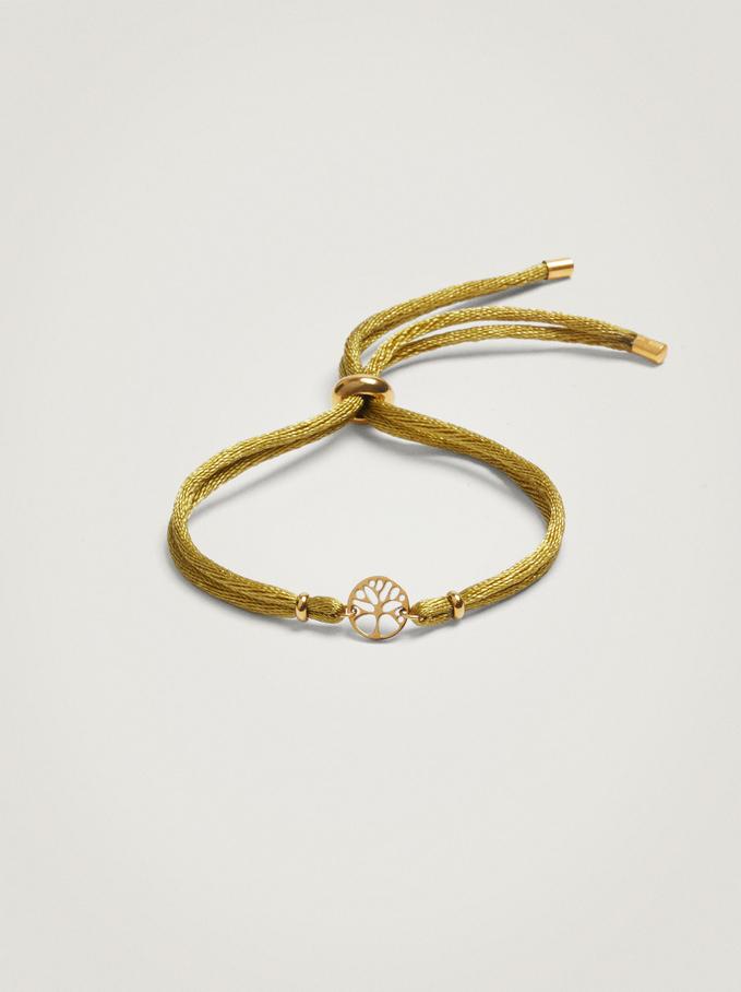 Adjustable Bracelet With Steel Charm, Brown, hi-res