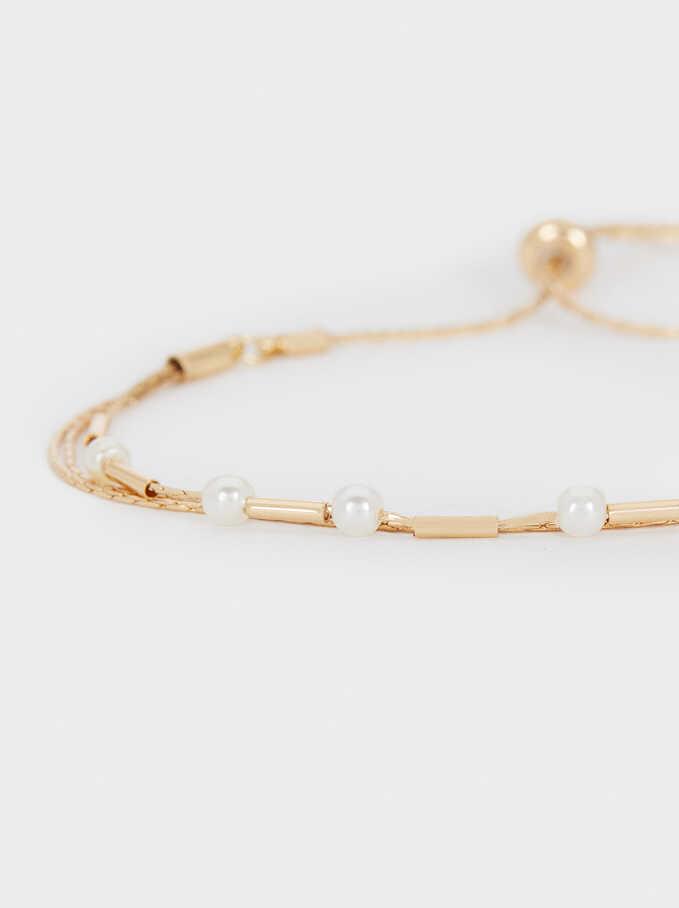 Adjustable Golden Faux Pearl Bracelet, Golden, hi-res