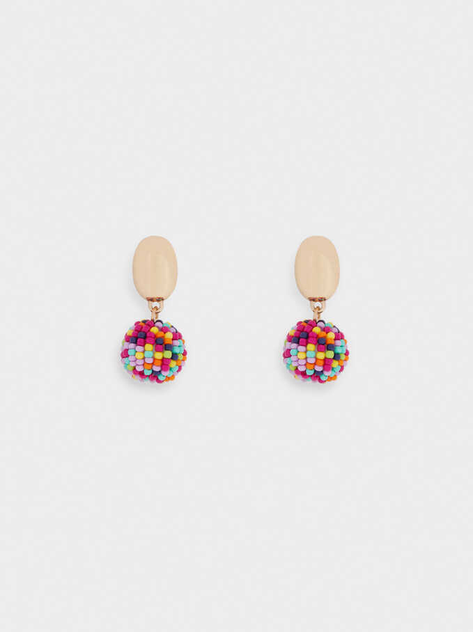 Earrings With Beads, Multicolor, hi-res