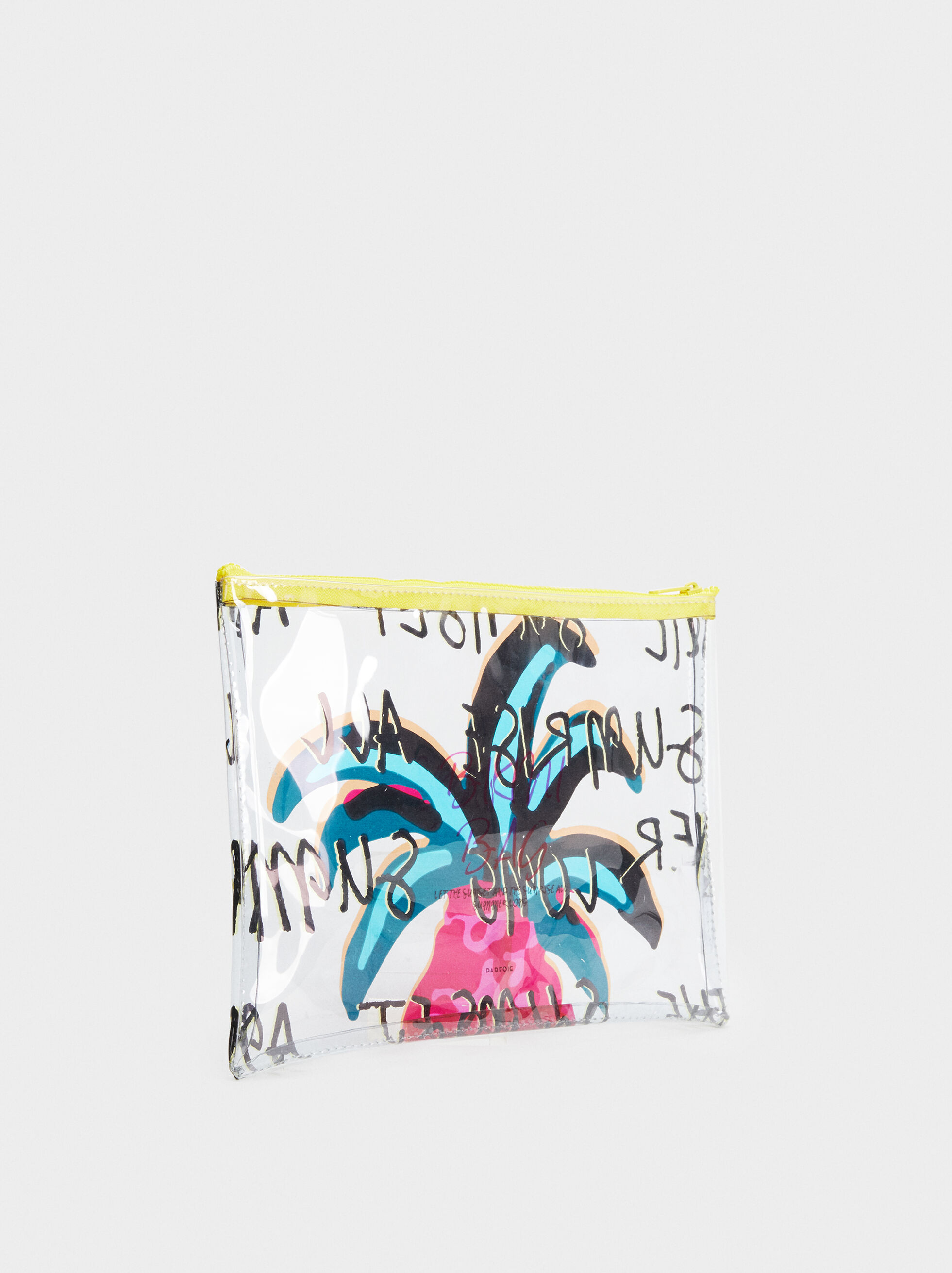 Palm Tree Print Multipurpose Purse, Yellow, hi-res