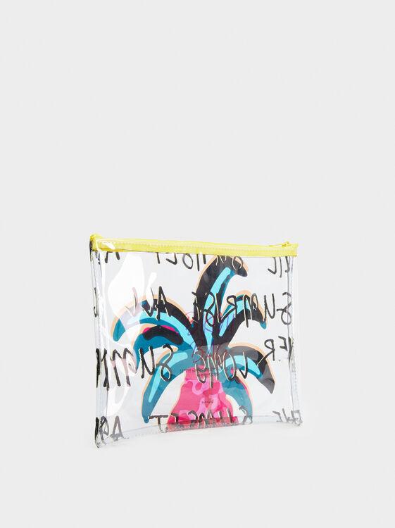 Palm Tree Print Multipurpose Purse, Yellow, hi-res