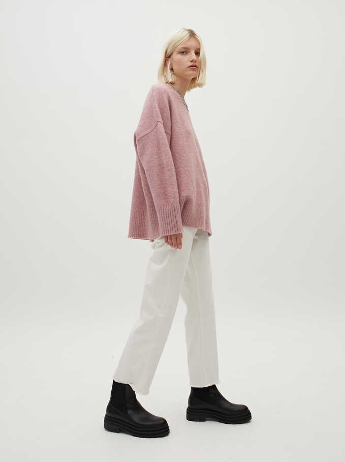 Round-Neck Knit Sweater, Pink, hi-res