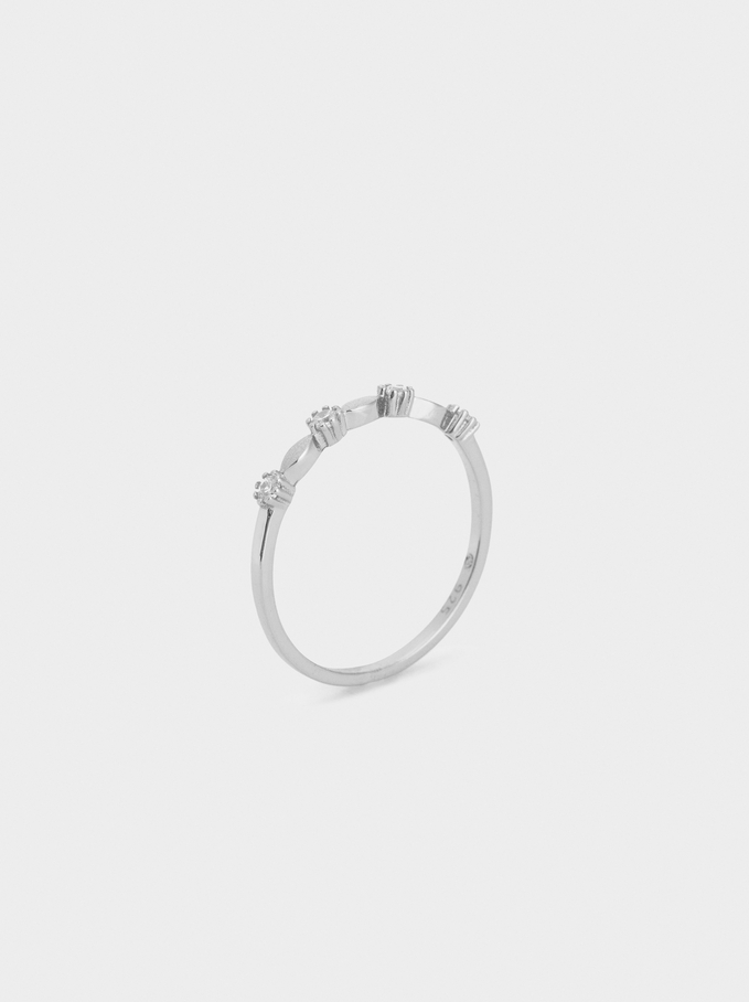 925 Silver Ring With Rhinestones, Silver, hi-res