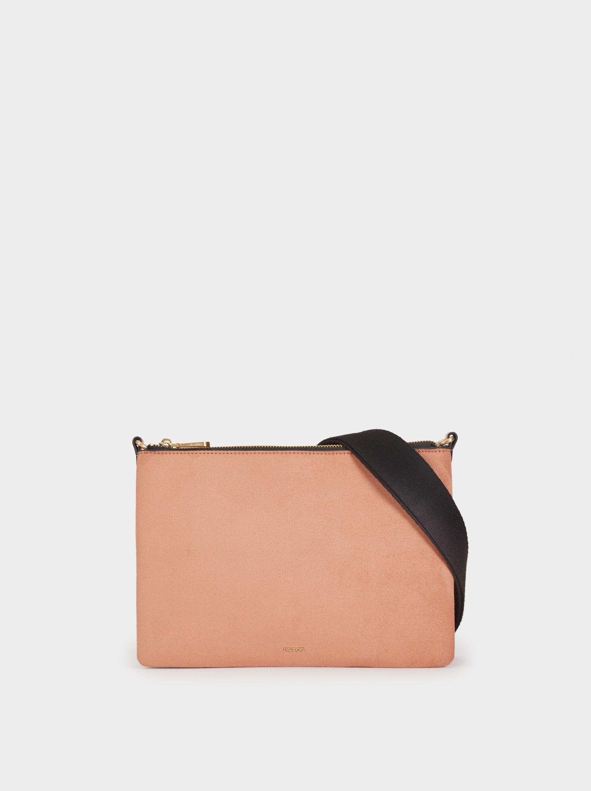 Faux Suede Crossbody Bag, Pink, hi-res