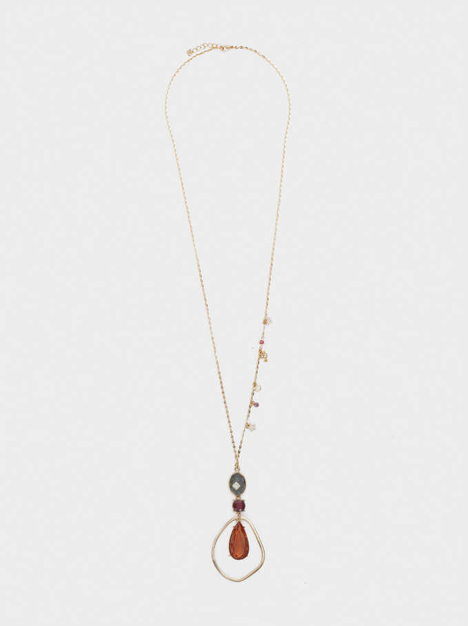 Long Stone And Crystal Necklace, Golden, hi-res