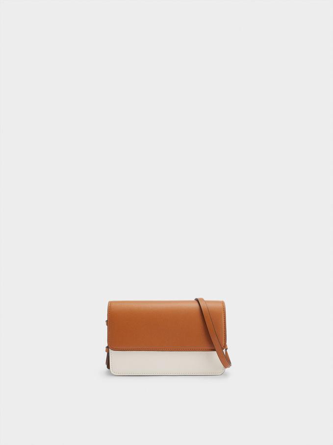 Crossbody Belt Bag With Front Flap Closure, Camel, hi-res