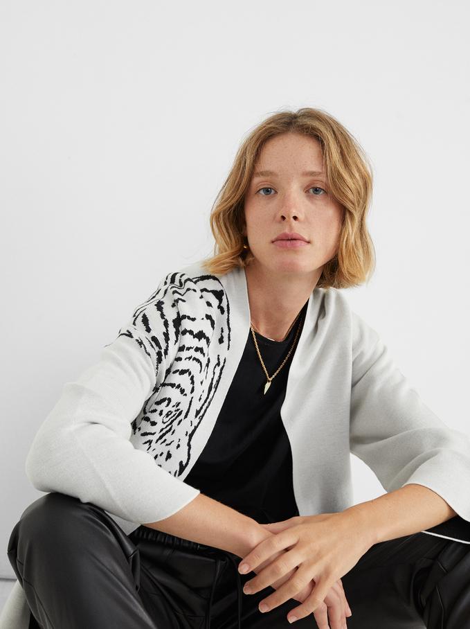 Knit Kimono With Animal Print, White, hi-res
