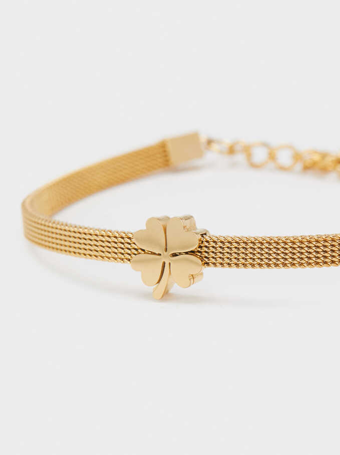 Stainless Steel Bracelet With Shamrock, Golden, hi-res