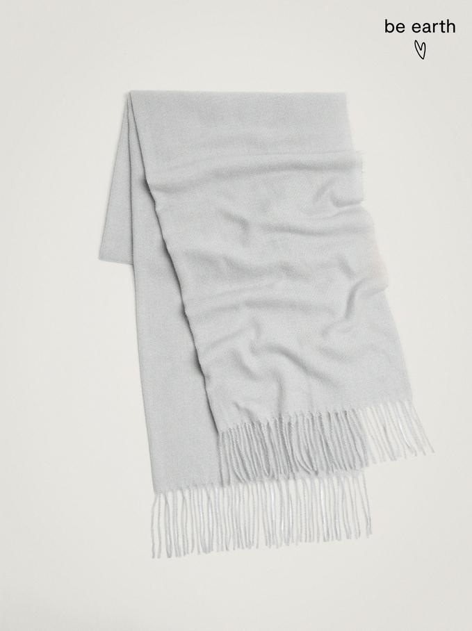 Blanket Scarf With Fringing, Grey, hi-res