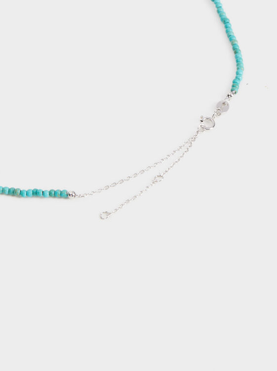925 Silver Short Necklace, Green, hi-res