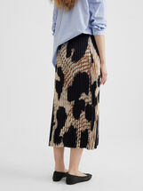 Printed Pleated Skirt, Beige, hi-res