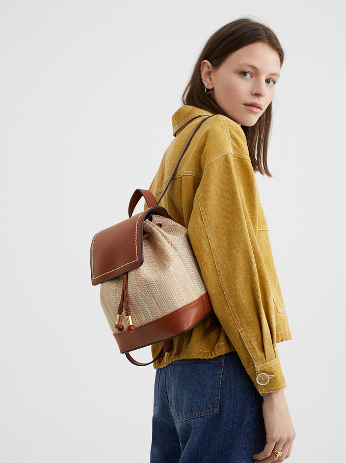 Backpack With Contrast Braided Fabric, Beige, hi-res
