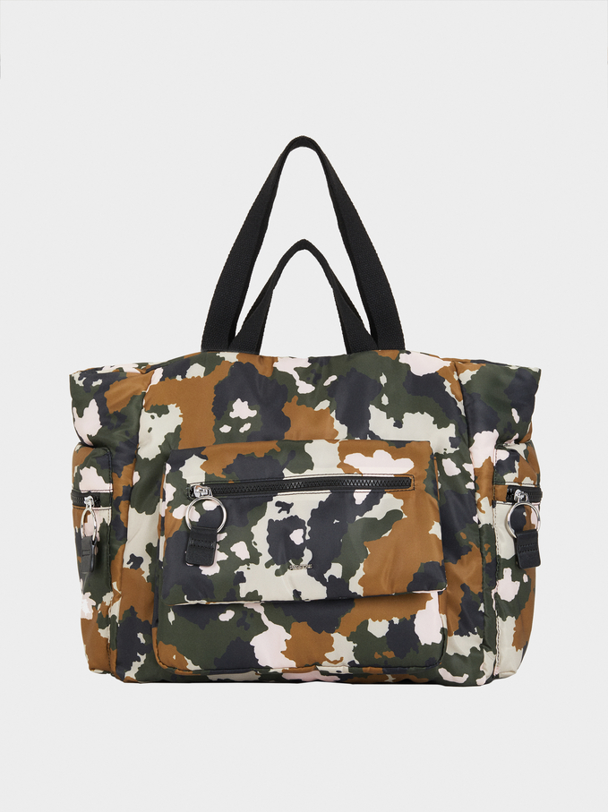 Nylon Tote Bag With Camouflage Print, Green, hi-res