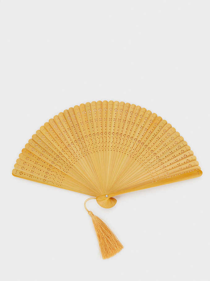 Fan With Tassels, Yellow, hi-res