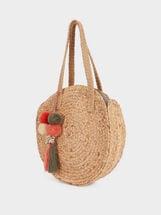 Bolso Shopper Redondo De Rafia Con Charm, Crudo, hi-res