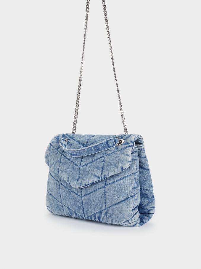Denim Shoulder Bag, Blue, hi-res