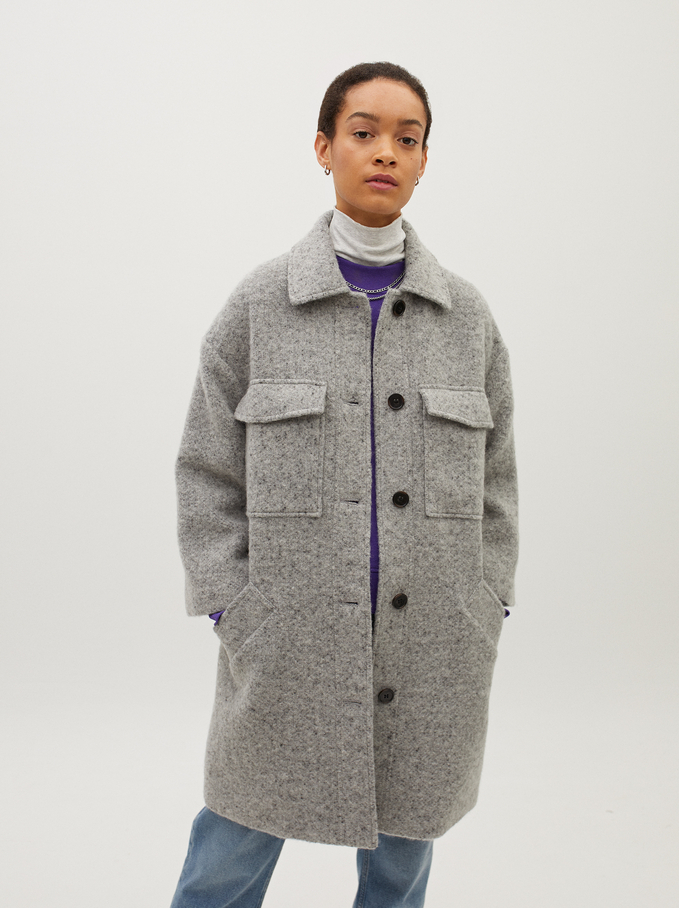 Button-Up Fake Fur Coat, Grey, hi-res