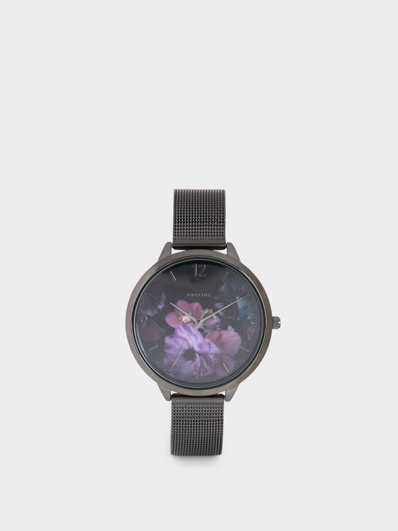 Watch With Floral Dial Illustration, Black, hi-res