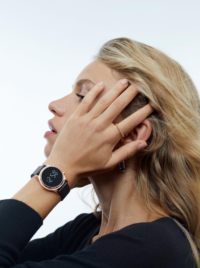 Digital Watch With Steel Wristband, Black, hi-res