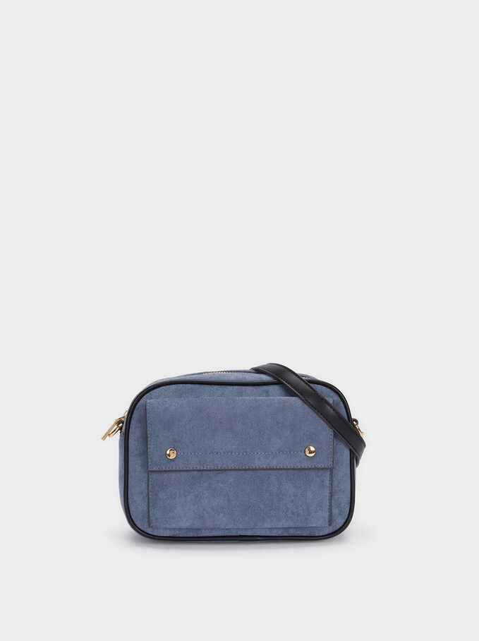 Faux Suede Crossbody Bag With Contrast Strap, , hi-res
