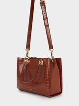 Embossed Mock Croc Tote Bag, Camel, hi-res