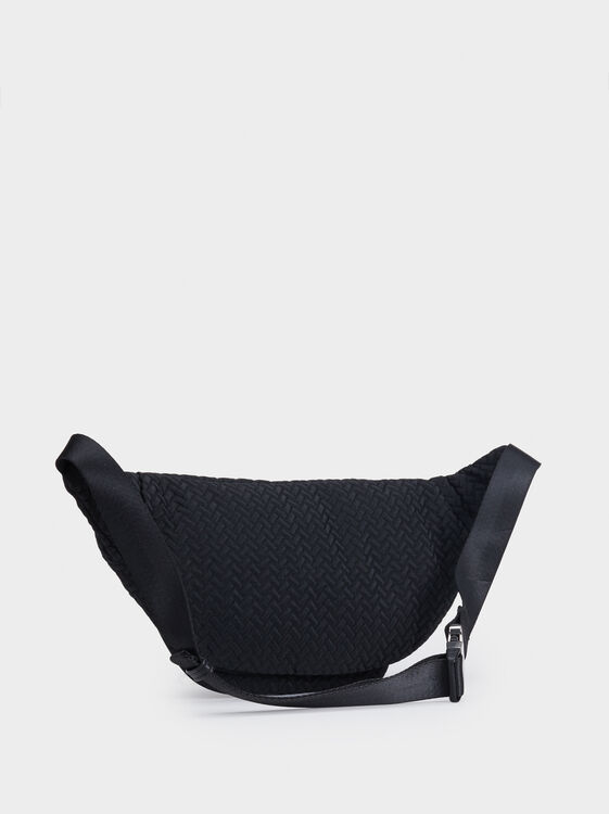 Embossed Belt Bag, Black, hi-res