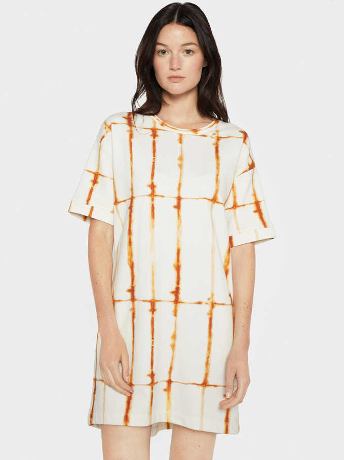Geometric Print Straight Dress, Orange, hi-res