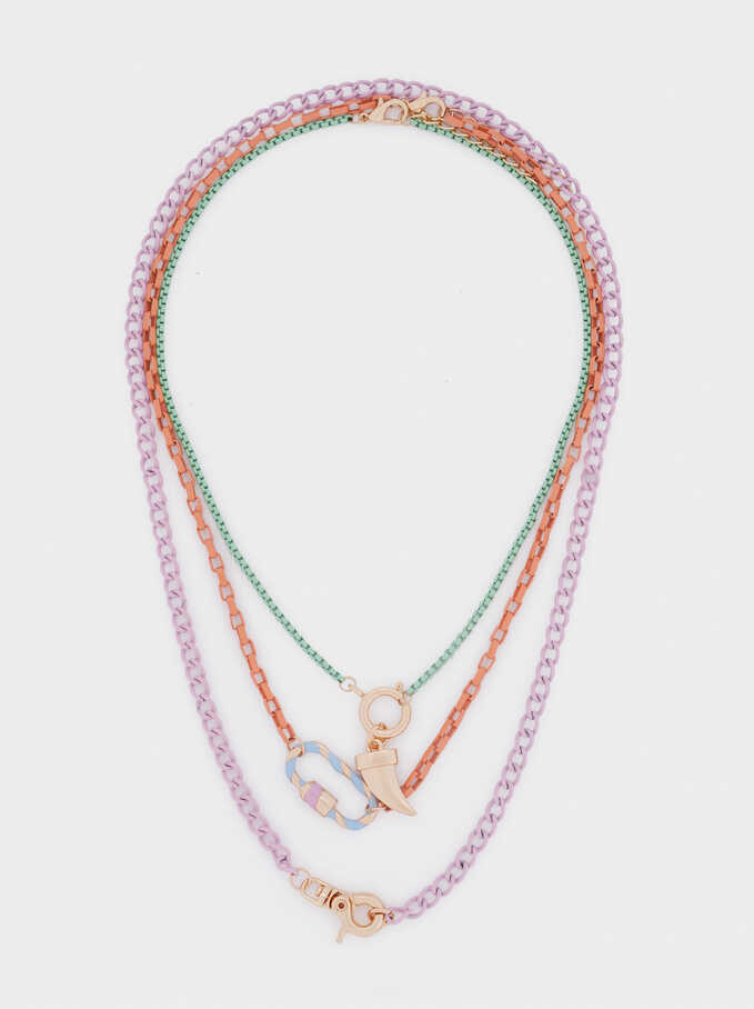 Horn Necklace Set, Multicolor, hi-res