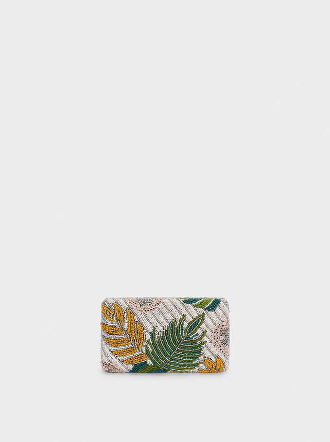 Clutch Diseño Hojas Abalorios, Verde, hi-res