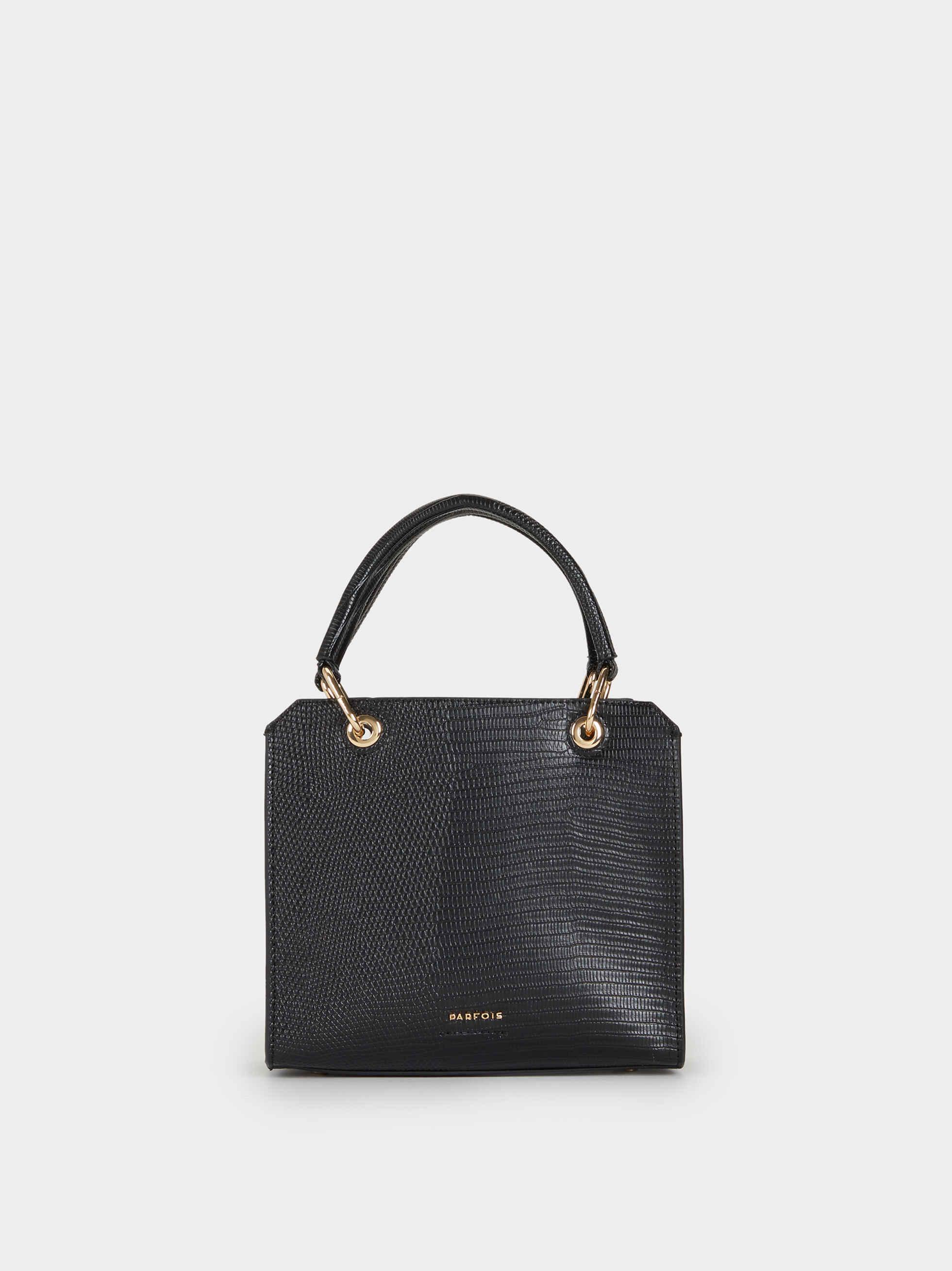 Faux Snakeskin Crossbody Bag, Black, hi-res