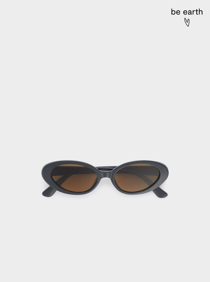 Oval Frame Sunglasses, Grey, hi-res
