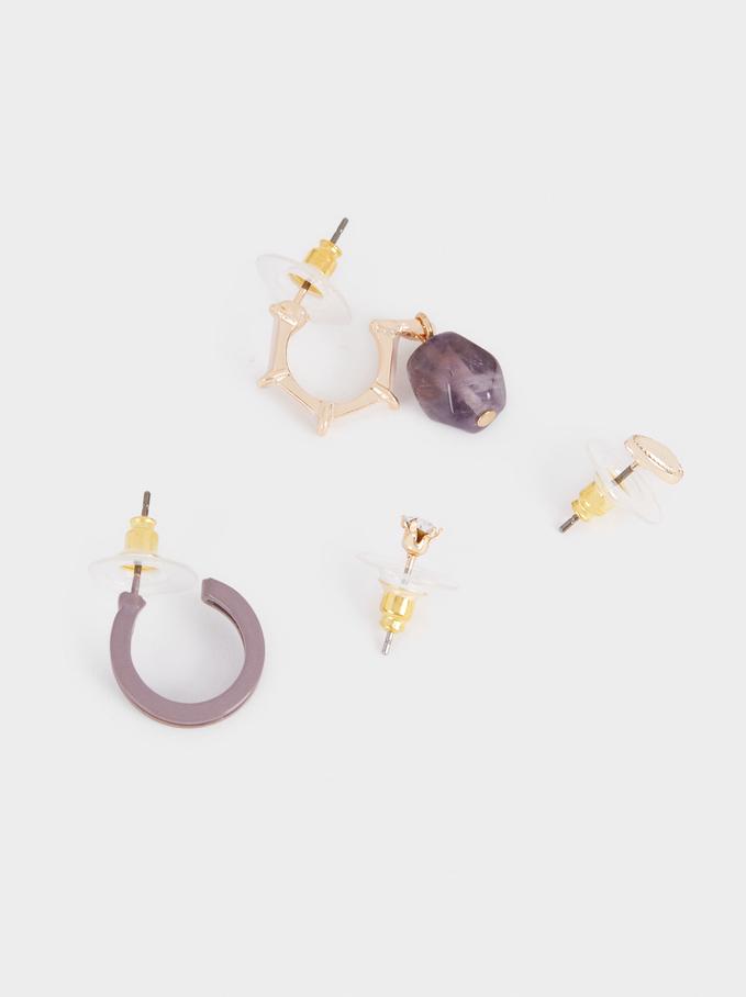 Set Of Hoop Earrings With Crystals, Violet, hi-res