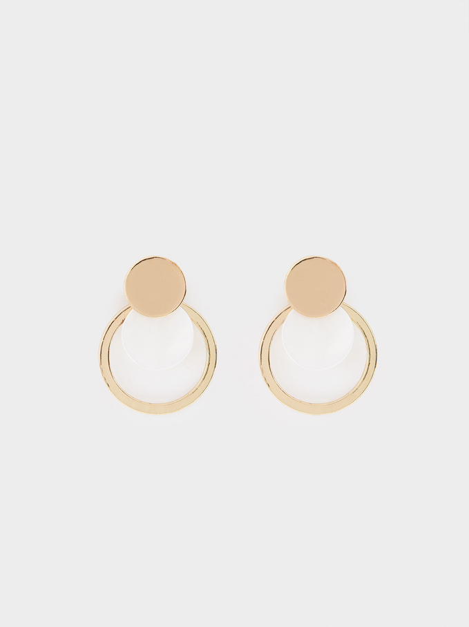 Earrings With Shell, Golden, hi-res