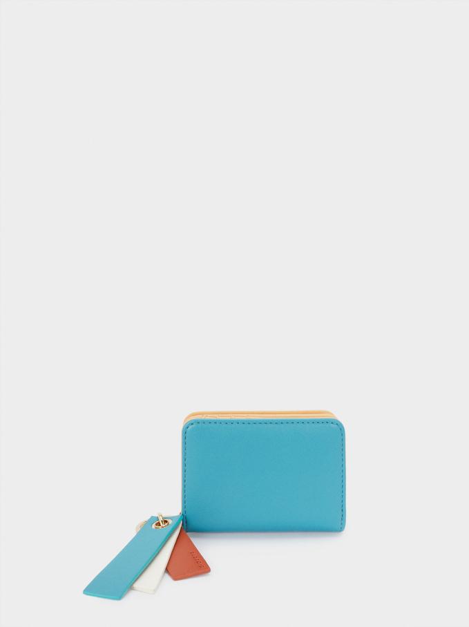 Portfel Z Patchworkowym Wzorem, Niebieski, hi-res