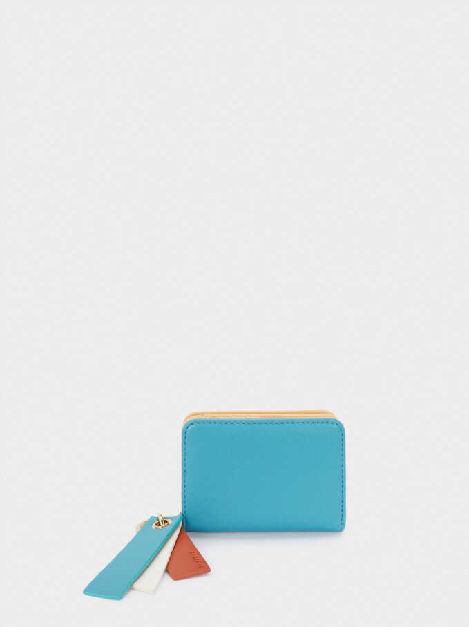 Portefeuille Compact Motif Patchwork, Bleu, hi-res