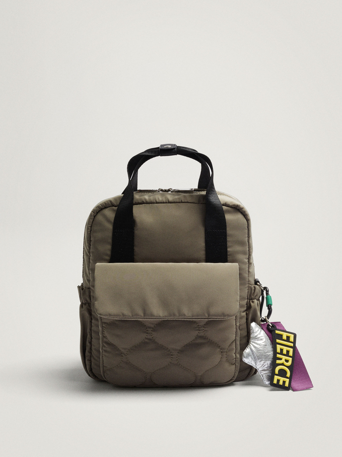 Quilted Nylon Backpack With Pendant, Khaki, hi-res