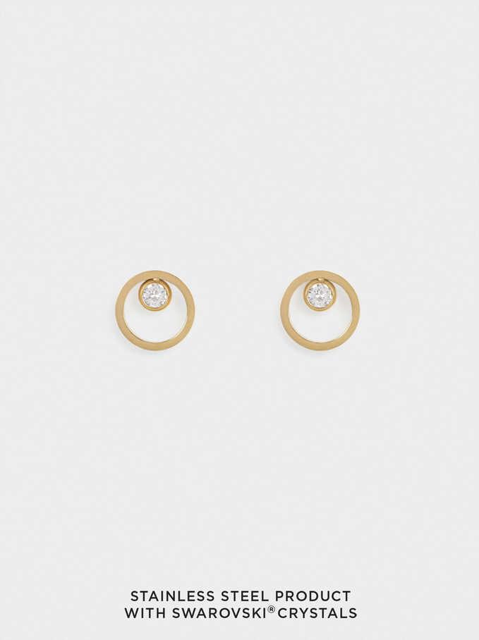 Boucles D'Oreilles Courtes En Acier Avec Cristaux Swarovski, Doré, hi-res