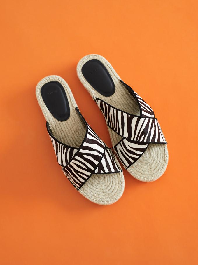 Flat Jute Sandals With Zebra Print, Black, hi-res