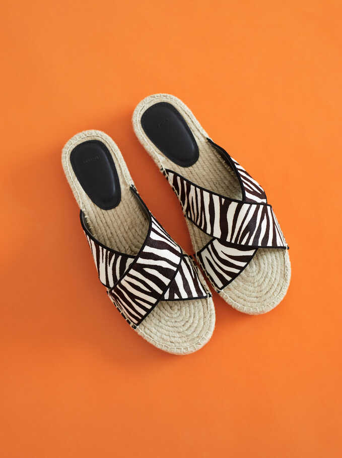 Flat Jute Sandals With Zebra Print, Black, hi-res