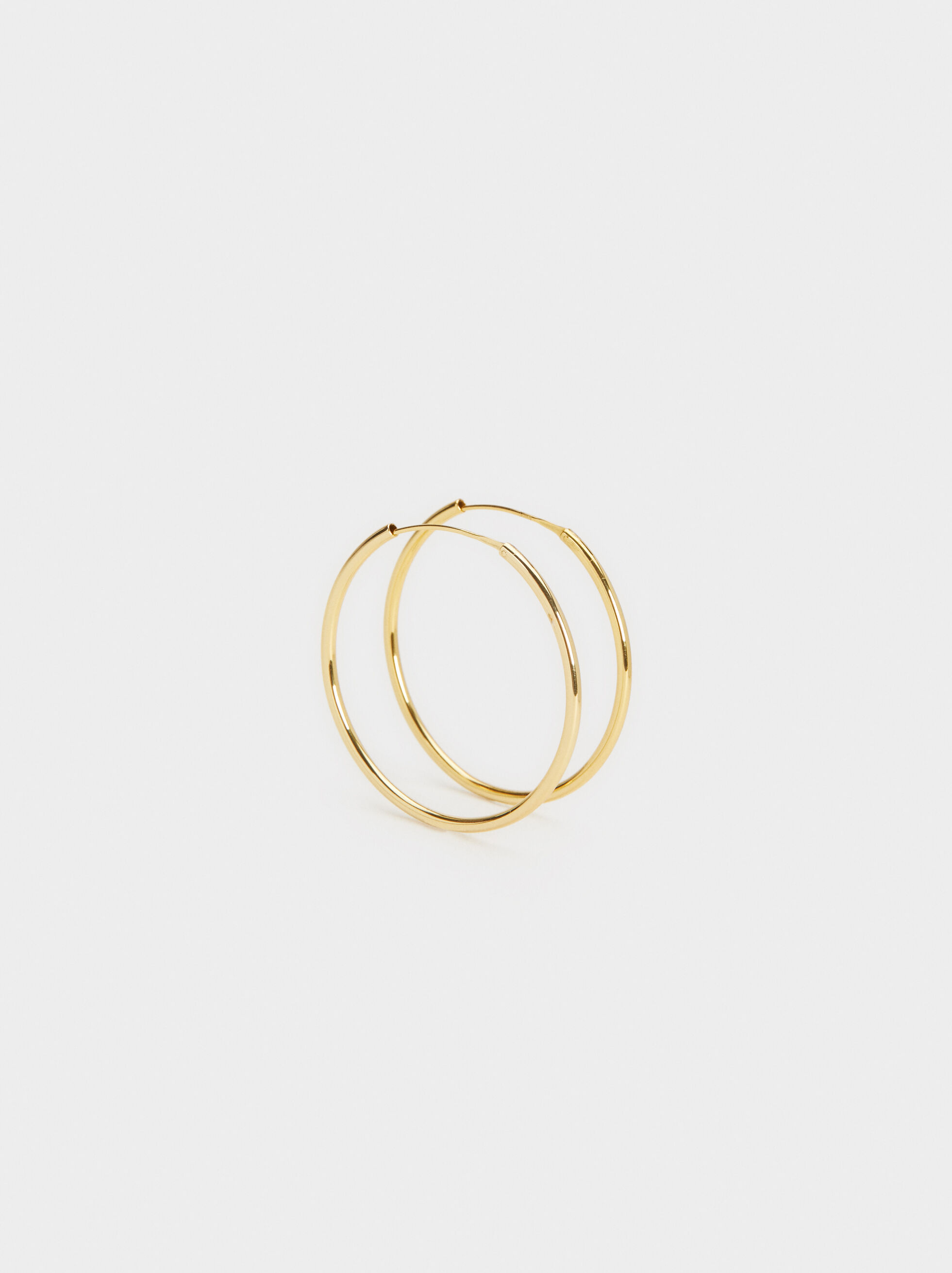 925 Silver Gold-Finish Large Hoop Earrings, , hi-res