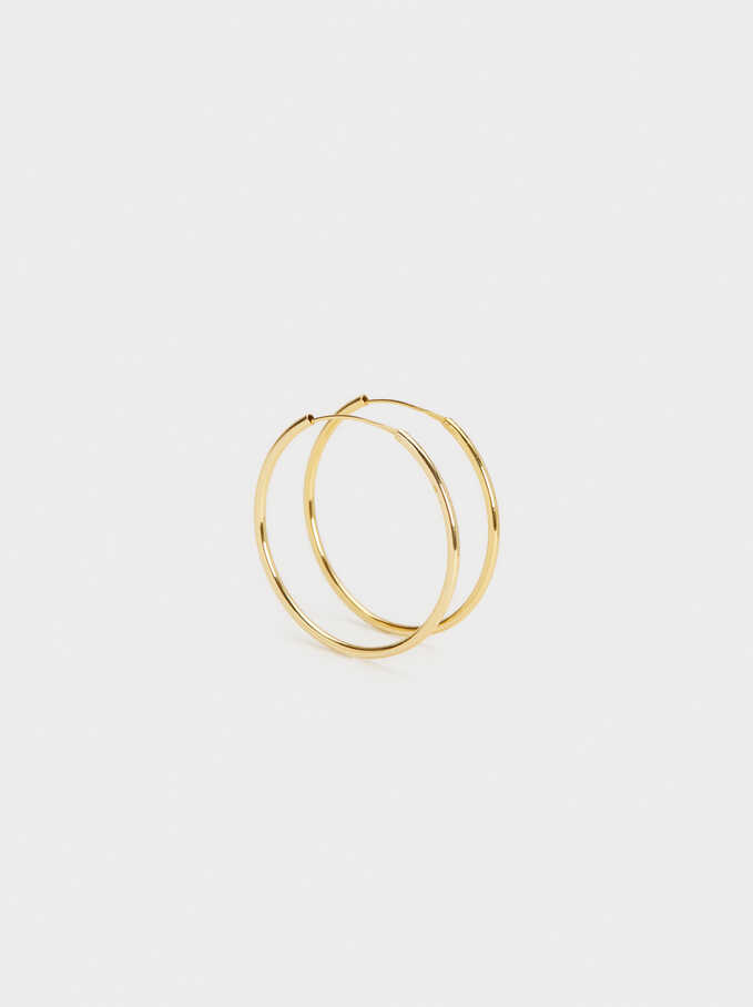 925 Silver Gold-Finish Large Hoop Earrings, Golden, hi-res